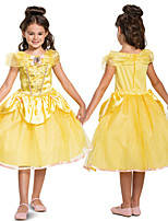 cheap -Princess Belle Dress Flower Girl Dress Girls' Movie Cosplay A-Line Slip Cosplay Yellow Dress Halloween Carnival Masquerade Tulle Polyester