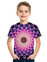 Недорогие -Дети Мальчики Активный Уличный стиль 3D С принтом С короткими рукавами Футболка Пурпурный