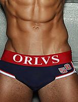 cheap -Men's Basic Briefs Underwear - EU / US Size Mid Waist Red Green Royal Blue M L XL