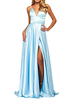 cheap -A-Line Sexy Blue Prom Formal Evening Dress Spaghetti Strap Sleeveless Sweep / Brush Train Polyester with Pleats Split 2020