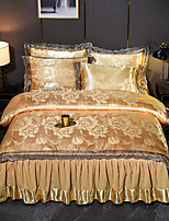 cheap -Duvet Covers 4 Piece Tencel Modal Satin Jacquard Embroidery Bedding Luxury European Neoclassical Style Jacquard Lace Sheets  Bedspread Lace Wedding European Bed Skirt Bedding Set