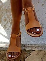 cheap -Women's Sandals Flat Sandal Summer Flat Heel Open Toe Daily PU Black / Yellow