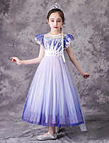 cheap -Princess Elsa Dress Flower Girl Dress Girls' Movie Cosplay A-Line Slip Purple Dress Children's Day Masquerade Tulle Sequin Cotton