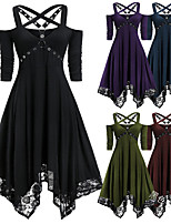 cheap -Plague Doctor Retro Vintage Gothic Steampunk Dress Masquerade Women's Costume Purple / Red / Green Vintage Cosplay Event / Party Long Sleeve