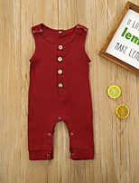 cheap -Baby Girls' Active Basic Solid Colored Sleeveless Romper Wine
