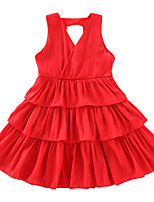 cheap -Kids Girls' Active Sweet Solid Colored Layered Lace up Sleeveless Knee-length Dress Yellow