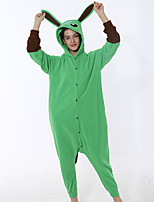 cheap -Adults' Kigurumi Pajamas Rabbit Bunny Onesie Pajamas Flannelette Green Cosplay For Men and Women Animal Sleepwear Cartoon Festival / Holiday Costumes