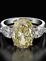 Недорогие -10 карат Синтетический алмаз Кольцо Серебристый Назначение Жен. Принцесса вырезать Дамы Роскошь Элегантный стиль Свадьба Свадьба Вечерние Официальные Высокое качество большой