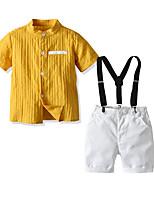 cheap -Kids Boys' Basic Birthday Party Party & Evening Striped Short Sleeve Regular Regular Clothing Set Yellow