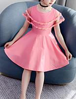 Недорогие -Дети Девочки Симпатичные Стиль Уличный стиль Пэчворк Сетка Пэчворк Без рукавов Платье Розовый