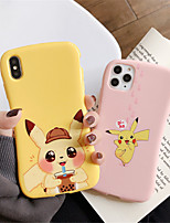 cheap -Case For Apple iPhone 11  11 Pro 11 Pro Max Pink Pikachu Milk Tea Pikachu Single Pattern Pure color TPU material Four corners drop proof Glossy Little Waist phone case