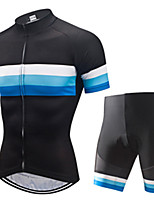 cheap -21Grams Men's Short Sleeve Cycling Jersey with Shorts Black / Blue Patchwork Bike Clothing Suit UV Resistant Breathable 3D Pad Quick Dry Sweat-wicking Sports Solid Color Mountain Bike MTB Road Bike