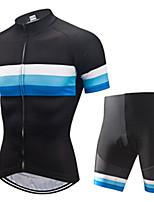Недорогие -21Grams Муж. С короткими рукавами Велокофты и велошорты Черный / синий Пэчворк Велоспорт Наборы одежды Устойчивость к УФ Дышащий 3D-панель Быстровысыхающий Впитывает пот и влагу Виды спорта