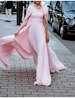 cheap -A-Line Empire Pink Formal Evening Dress Scoop Neck Short Sleeve Floor Length Chiffon with Ruched Split Overskirt 2020