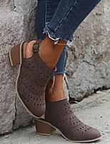cheap -Women's Sandals Chunky Heel Pointed Toe PU Summer Orange / Blue / Brown
