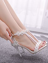 cheap -Women's Sandals Heel Sandals White Sandals Spring & Summer / Fall & Winter Stiletto Heel Open Toe Sweet Minimalism Wedding Party & Evening Imitation Pearl / Buckle / Stitching Lace Camouflage Lace