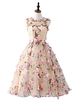 cheap -A-Line Floral Pink Homecoming Cocktail Party Dress Jewel Neck Sleeveless Short / Mini Satin with Appliques 2020