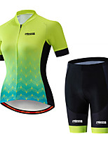 cheap -21Grams Women's Short Sleeve Cycling Jersey with Shorts Black / Green Gradient Leaf Bike Clothing Suit Breathable 3D Pad Quick Dry Ultraviolet Resistant Sweat-wicking Sports Solid Color Mountain Bike