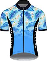 Недорогие -21Grams Муж. С короткими рукавами Велокофты Черный / синий Градиент Цветочные ботанический Велоспорт Джерси Верхняя часть Горные велосипеды Шоссейные велосипеды / Эластичная / Быстровысыхающий