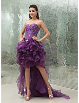 cheap -Ball Gown Luxurious Sparkle Wedding Guest Prom Dress Sweetheart Neckline Sleeveless Asymmetrical Organza with Beading 2020