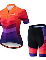 Недорогие -21Grams Жен. С короткими рукавами Велокофты и велошорты Черный / оранжевый Клетки Градиент Велоспорт Наборы одежды Дышащий 3D / Слабоэластичная / Быстровысыхающий / Горные велосипеды