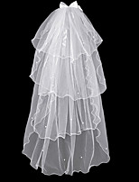 cheap -Four-tier Simple Wedding Veil Shoulder Veils with Faux Pearl 15.75 in (40cm) Tulle