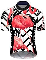 Недорогие -21Grams Муж. С короткими рукавами Велокофты Черный / красный В полоску Фламинго Цветочные ботанический Велоспорт Джерси Верхняя часть Горные велосипеды Шоссейные велосипеды / Эластичная / Дышащий