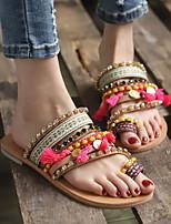 cheap -Women's Sandals Flat Sandal Tropezienne Sandals Summer Flat Heel Open Toe Boho Daily Beach PU Pink