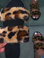 cheap -Women's Sandals Flat Sandal Summer Flat Heel Open Toe Daily Faux Fur Black / Pink / Brown