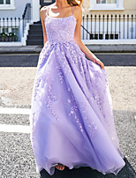 cheap -A-Line Floral Purple Engagement Prom Dress Spaghetti Strap Sleeveless Sweep / Brush Train Polyester with Appliques 2020