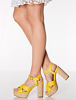 cheap -Women's Sandals Chunky Heel Open Toe PU Summer Yellow / White
