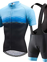 Недорогие -21Grams Муж. С короткими рукавами Велокофты и велошорты-комбинезоны Черный / синий Клетки Градиент Велоспорт Наборы одежды Устойчивость к УФ Дышащий 3D-панель Быстровысыхающий Впитывает пот и влагу