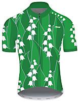 Недорогие -21Grams Муж. С короткими рукавами Велокофты Зеленый Пэчворк Цветочные ботанический Велоспорт Джерси Верхняя часть Горные велосипеды Шоссейные велосипеды Устойчивость к УФ Дышащий Быстровысыхающий