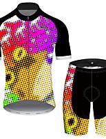 Недорогие -21Grams Муж. С короткими рукавами Велокофты и велошорты Черный / желтый Градиент Лягушка Смешной Велоспорт Наборы одежды Устойчивость к УФ Дышащий Быстровысыхающий Впитывает пот и влагу Виды спорта