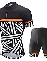 cheap -21Grams Men's Short Sleeve Cycling Jersey with Shorts Black / White Stripes Bike Clothing Suit UV Resistant Breathable 3D Pad Quick Dry Sweat-wicking Sports Solid Color Mountain Bike MTB Road Bike