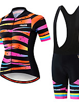 cheap -21Grams Women's Short Sleeve Cycling Jersey with Bib Shorts Black / Orange Stripes Gradient Bike Clothing Suit Breathable 3D Pad Quick Dry Ultraviolet Resistant Sweat-wicking Sports Stripes Mountain