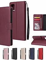 Недорогие -Кейс для Назначение SSamsung Galaxy A71 / S20 Plus / S20 Ultra Бумажник для карт / Флип Чехол Однотонный Кожа PU / ТПУ