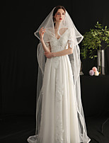 cheap -Two-tier Sweet Wedding Veil Cathedral Veils with Fringe Tulle