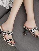 cheap -Women's Sandals Chunky Heel Open Toe Cowhide Summer Black