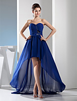 cheap -A-Line Elegant Blue Wedding Guest Formal Evening Dress Sweetheart Neckline Sleeveless Asymmetrical Chiffon with Ruched Crystals 2020