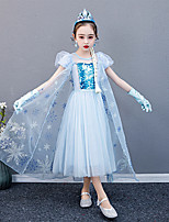 cheap -Princess Elsa Dress Flower Girl Dress Girls' Movie Cosplay A-Line Slip Blue Dress Children's Day Masquerade Tulle Cotton