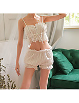 cheap -Women's Lace / Backless / Cut Out Suits Nightwear Jacquard / Solid Colored White One-Size