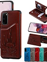 cheap -Case For Samsung Galaxy Note 9 / Galaxy S10 / Galaxy S10 Plus Card Holder / with Stand / Pattern Back Cover Solid Colored / Skull PU Leather / TPU