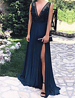 cheap -Sheath / Column Elegant Beautiful Back Holiday Formal Evening Dress V Neck Sleeveless Sweep / Brush Train Chiffon with Pearls Split 2020
