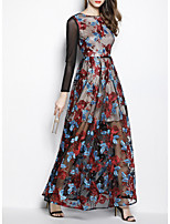 cheap -Sheath / Column Bohemian Floral Prom Formal Evening Dress Jewel Neck Long Sleeve Floor Length Polyester with Pattern / Print 2020