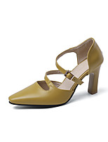 cheap -Women's Sandals 2020 Chunky Heel Pointed Toe Buckle PU Classic / Minimalism Spring & Summer Yellow / White / Black / Party & Evening