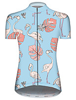 cheap -21Grams Women's Short Sleeve Cycling Jersey Red+Blue Flamingo Animal Floral Botanical Bike Jersey Top Mountain Bike MTB Road Bike Cycling UV Resistant Breathable Quick Dry Sports Clothing Apparel