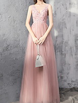 cheap -A-Line Sparkle Pink Engagement Prom Dress V Neck Sleeveless Floor Length Polyester with Pleats Sequin 2020