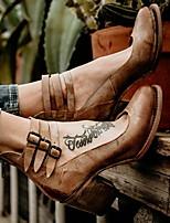 Недорогие -Жен. Обувь на каблуках На толстом каблуке Круглый носок Полиуретан Весна лето Коричневый / Черный / Бежевый