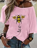 Недорогие -Жен. Животное С принтом Футболка Повседневные На одно плечо Белый / Желтый / Розовый